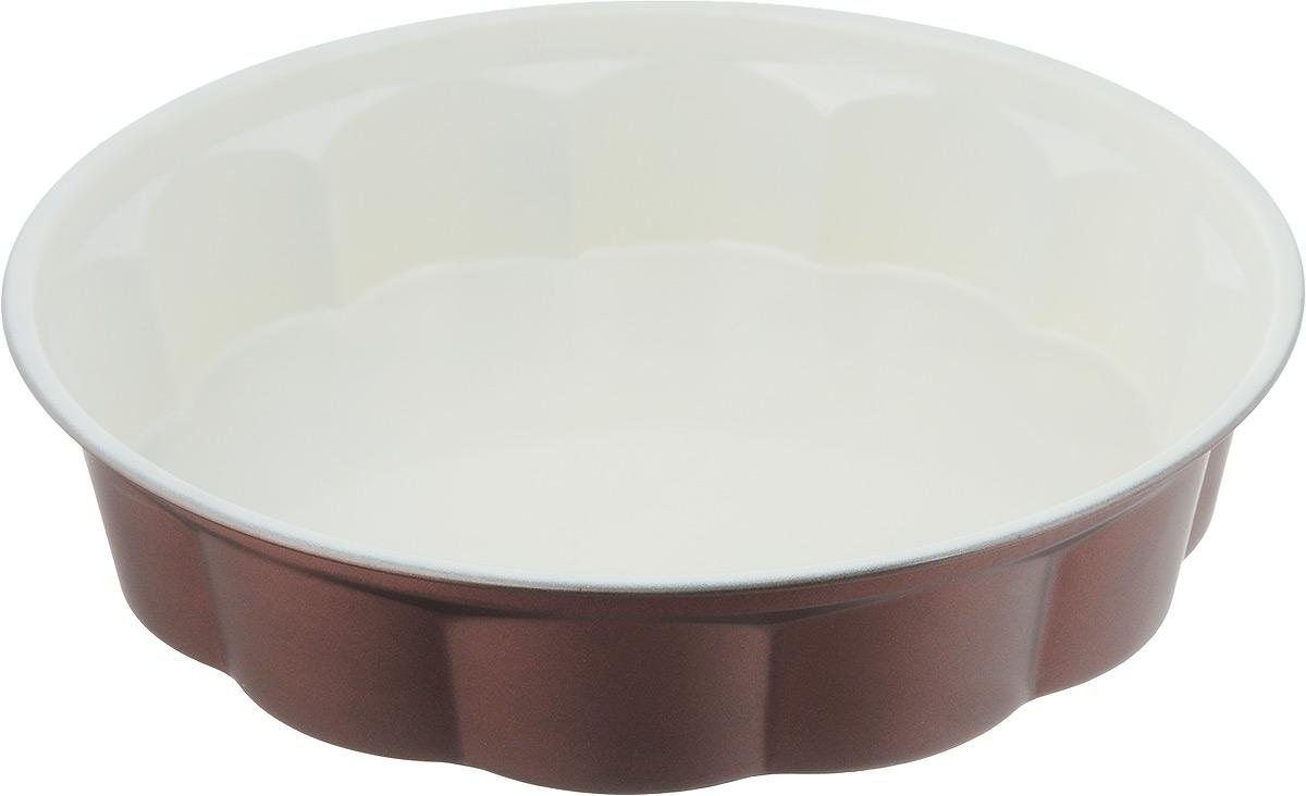 Форма для выпечки Termico EcoCeramo, с керамическим покрытием, диаметр 27,5 см68/5/4Круглая форма для выпечки Termico EcoCeramo изготовлена из высококачественной углеродистой стали с керамическим покрытием, благодаря чему выпечка не пригорает и не прилипает к стенкам посуды. Кроме того, готовить можно с добавлением минимального количества масла и жиров. Керамическое покрытие также обеспечивает легкость мытья. Стальные стенки посуды быстро распределяют тепло, благодаря чему выпечка пропекается равномерно.Для чистки нельзя использовать абразивные чистящие средства и жесткие губки. Диаметр формы (по верхнему краю): 27,5 см. Высота стенки: 6 см.
