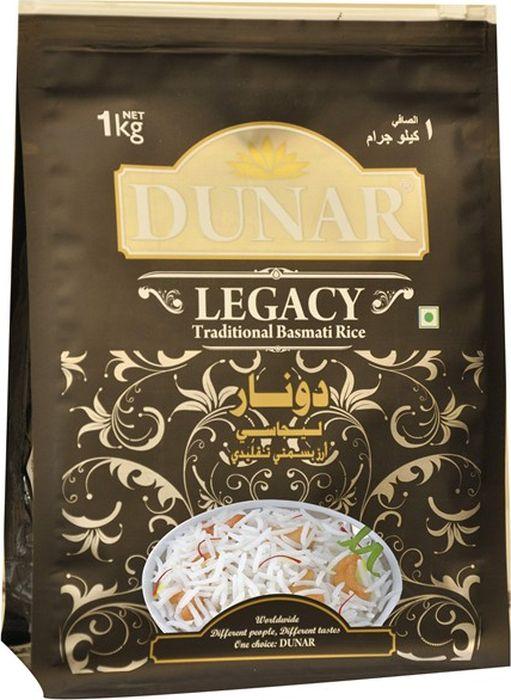 Dunar Legacy традиционный басмати рис, 1 кгДунар 1Традиционный самый ароматный индийский рис басмати, выдержка риса 2 года, длина зерна в приготовленном виде 15 мм.
