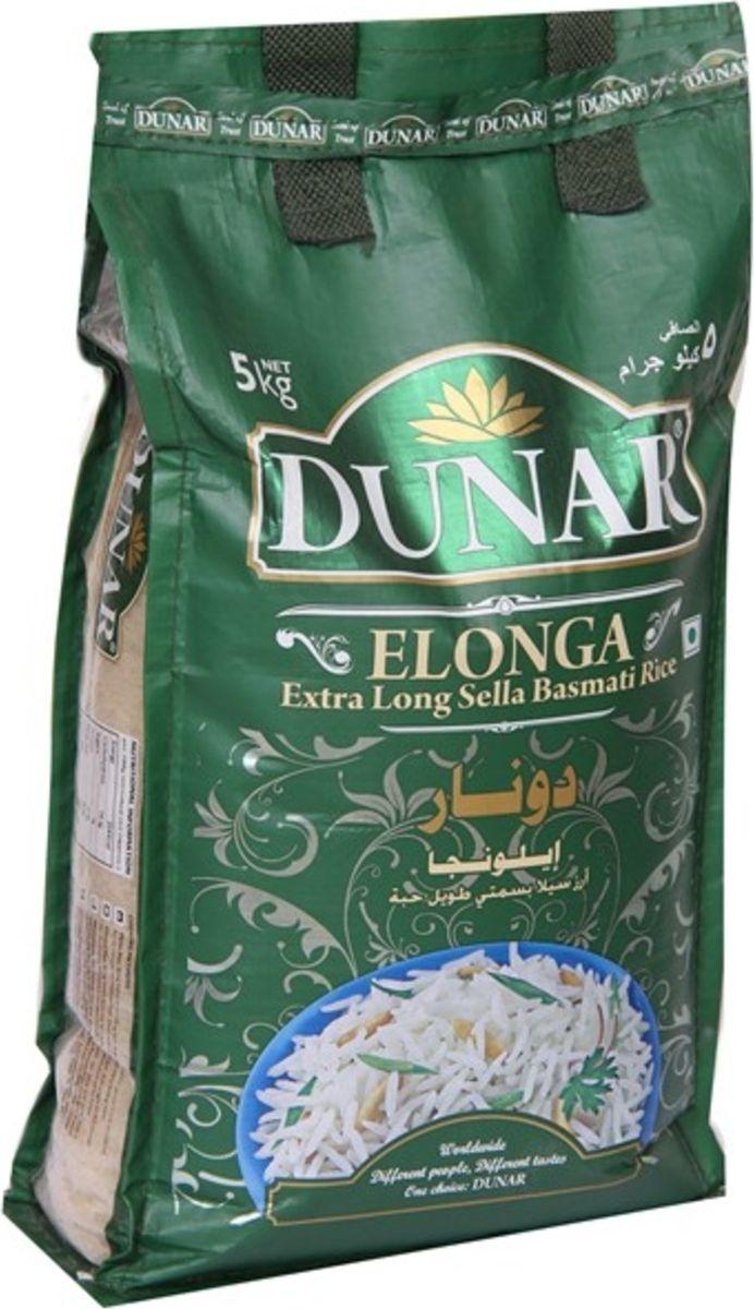 Dunar Elonga Sella пропаренный басмати рис, 5 кгДунар 12Пропаренный кремовый рис басмати, выдержка риса 2 года, длина риса в приготовленном виде 19 мм.