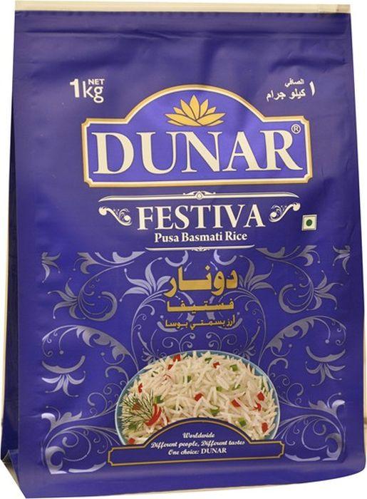 Dunar Festiva воздушный басмати рис, 1 кг0120710Самый воздушный рис басмати, выдержка риса 2 года, длина риса в приготовленном виде 15,5 мм.