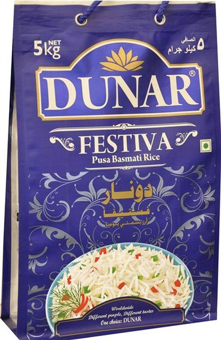 Dunar Festiva воздушный басмати рис, 5 кгДунар 19Самый воздушный рис басмати, выдержка риса 2 года, длина риса в приготовленном виде 15,5 мм.
