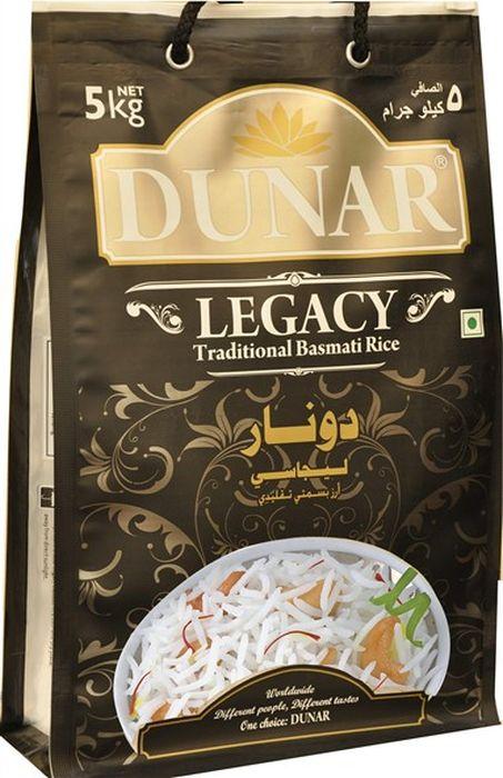 Dunar Legacy традиционный басмати рис, 5 кгДунар 2Традиционный самый ароматный индийский рис басмати, выдержка риса 2 года, длина зерна в приготовленном виде 15 мм