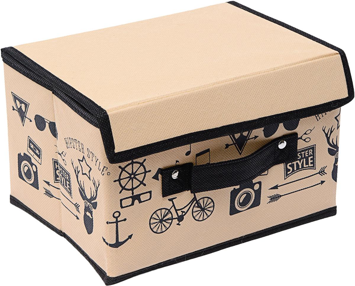 Коробка для хранения Homsu Hipster Style, с крышкой, 19 х 25 х 16 см1092019Коробка для хранения Homsu Hipster Style изготовлена из картона и спанбонда. Изделие легко и быстро складывается. Оптимальный размер позволяет хранить в ней любые вещи и предметы. Изделие имеет жесткие борта и крышку, что является гарантией сохранности вещей. Коробка дополнена ручкой и принтом.