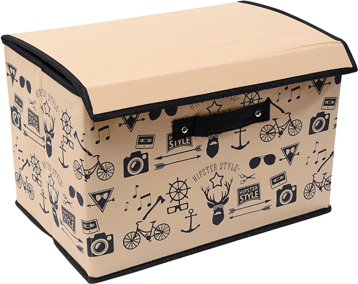 Коробка для хранения Homsu Hipster Style, с крышкой, 38 х 25 х 25 смБрелок для ключейКоробка для хранения Homsu Hipster Style изготовлена из картона и спанбонда. Изделие легко и быстро складывается. Оптимальный размер позволяет хранить в ней любые вещи и предметы. Изделие имеет жесткие борта и крышку, что является гарантией сохранности вещей. Коробка дополнена ручкой и принтом.