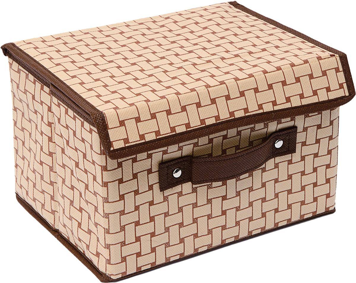 Коробка для хранения Homsu Pletenka, с крышкой, 19 х 25 х 16 смHOM-774Коробка для хранения Homsu  Pletenka изготовлена из картона и спанбонда. Изделие легко и быстро складывается. Оптимальный размер позволяет хранить в ней любые вещи и предметы. Изделие имеет жесткие борта и крышку, что является гарантией сохранности вещей. Коробка дополнена ручкой и принтом.