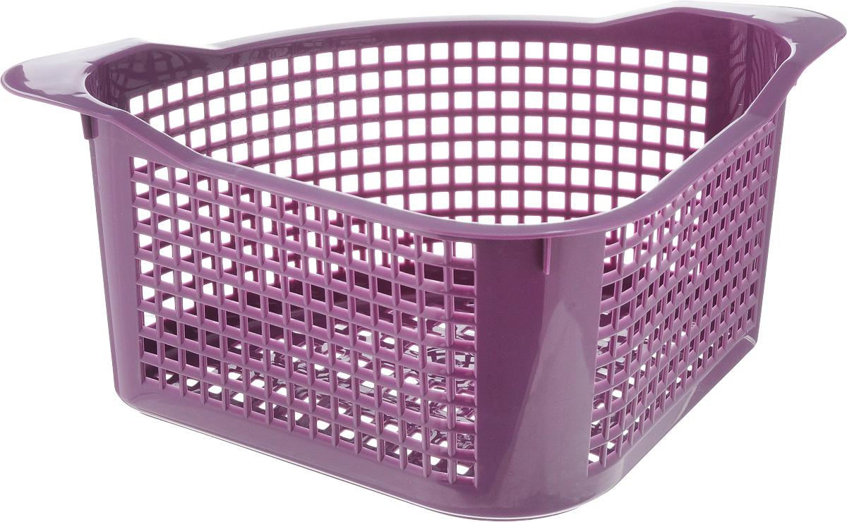Корзинка универсальная Econova, угловая, цвет: фиолетовый, 29 х 18 х 12 см93976Универсальная угловая корзинка Econova, изготовленная из высококачественного прочного пластика, предназначена для хранения мелочей в ванной, на кухне или даче.Это легкая корзина с жесткой кромкой и небольшими отверстиями позволяет хранить мелкие вещи, исключая возможность их потери.