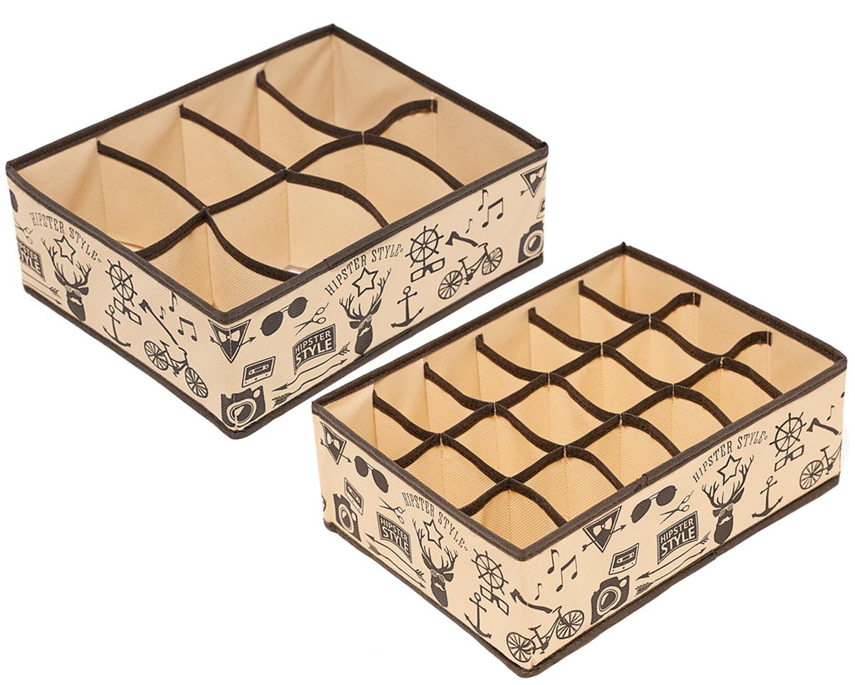 Набор органайзеров Homsu Hipster Style, 31 х 24 х 11 см, 2 штRG-D31SЭтот комплект состоит из прямоугольного и плоского органайзера с 18 раздельными ячейками 7см на 5см и прямоугольного и плоского органайзера с 8 раздельными ячейками 12см на 8сми. Они очень удобны для хранения мелких вещей в вашем ящике или на полке. Идеально подойдут для носков, платков, галстуков и других вещей ежедневного пользования. Имеют жесткие борта, что является гарантией сохраности вещей. 310x240x110; 310x240x110