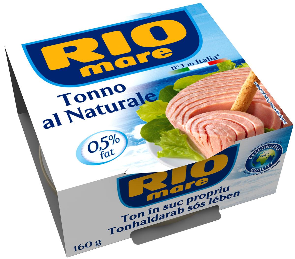 Rio Mare тунец в собственном соку, 160 г0120710Тунец в собственном соку всегда был самым популярным консервированным продуктом в Италии. Уникальный, ни с чем не сравнимый вкус тунца Rio Mare, обладающего розовым цветом и неизменным качеством. Высокое качество продукта обеспечивается за счет соблюдения строгого контроля и тщательного выполнения процессов обработки. Продукт идеален для приготовления различных блюд, от закусок до салатов из свежих овощей и питательных салатов.