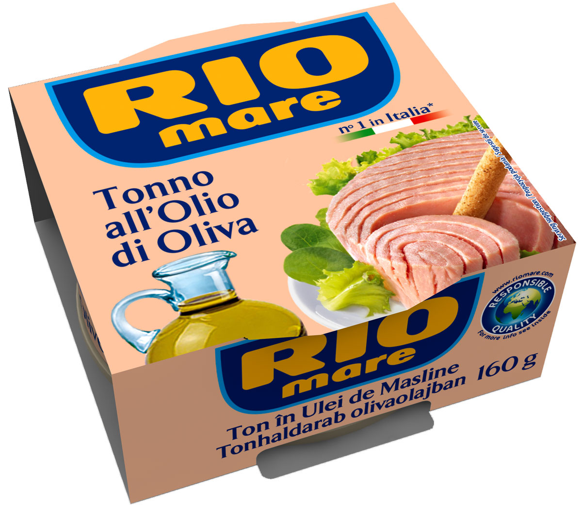 Rio Mare тунец в оливковом масле, 160 г0120710Тунец в оливковом масле всегда был самым популярным консервированным продуктом в Италии. Уникальный, ни с чем не сравнимый вкус тунца Rio Mare, обладающего розовым цветом и неизменным качеством. Высокое качество продукта обеспечивается за счет соблюдения строгого контроля и тщательного выполнения процессов обработки; тунец упаковывается в банки с добавлением только качественного оливкового масла и небольшого количества морской соли. Продукт идеален для приготовления различных блюд, от закусок до салатов из свежих овощей и питательных салатов.
