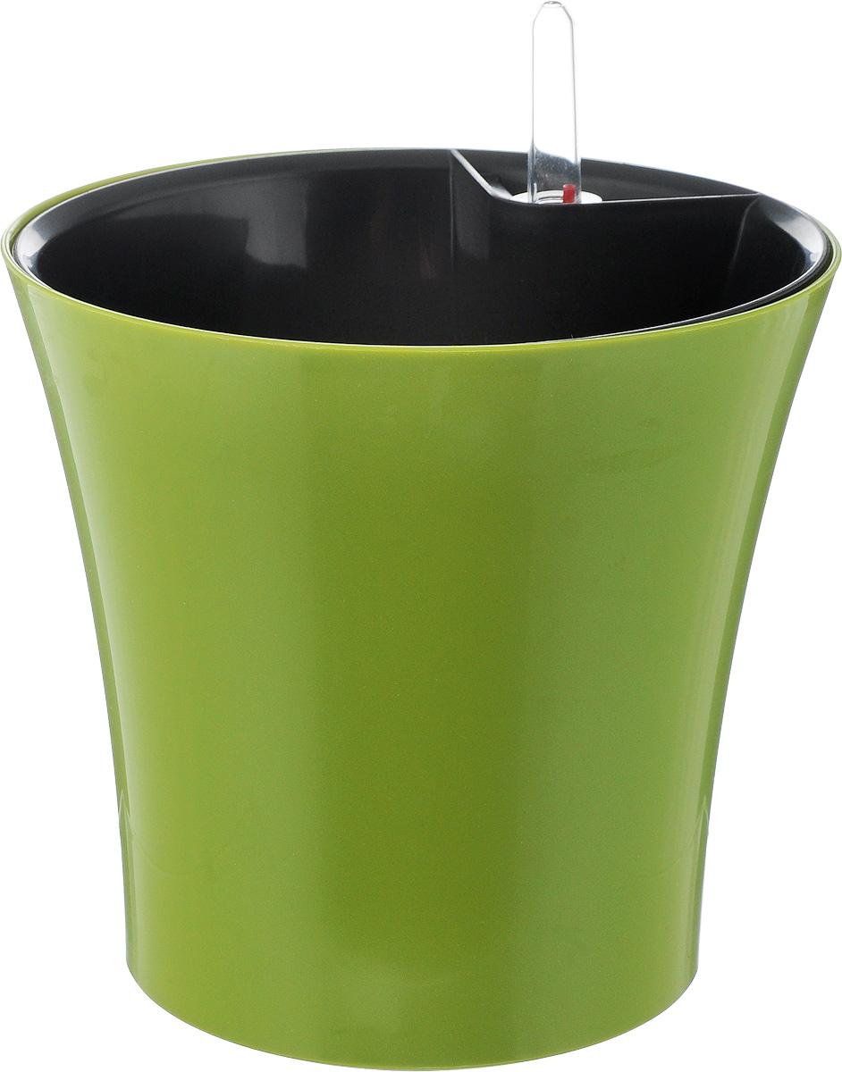 Горшок для цветов Техоснастка Комфорт, с автополивом, цвет: оливковый, 2,5 л531-402Горшок с автополивом Техоснастка Комфорт - настоящая находка для людей, которые любят живые растения, но в силу нехватки времени не могут обеспечить им своевременный полив. Изделие выполнено из высококачественного полипропилена. Система автополива работает по принципу капиллярного поднятия жидкости к корням растения. Устроен такой горшок следующим образом: в основной горшок устанавливается съемный горшок, в котором находятся водовод и земельный субстрат, обеспечивающие доставку воды к корням, сбоку - поливочные отверстия и индикатор уровня воды. В первые недели после посадки растения в горшок вода поливается обычным способом, чтобы земля и корни напитались влагой. Она наливается во внешнюю часть горшка в поливочные отверстия и по фитилю поднимается вверх, увлажняя грунт, одного полива хватает примерно на 2-3 недели (это зависит от растения, времени года и климатических условий окружающей среды). Затем следят за индикацией уровня воды. Растение получает только то количество воды, которое ему необходимо в данный момент. Воду для полива отстаивать не нужно.Капиллярный автополив способствует насыщенному цвету листьев, обильному цветению и быстрому росту. Горшок состоит из нескольких комплектующих: индикатор уровня воды, фитиль-водовод, внутренний съемный горшок, внешний горшок. Диаметр горшка по верхнему краю: 18,5 см. Высота горшка (без учета индикатора воды): 17 см.