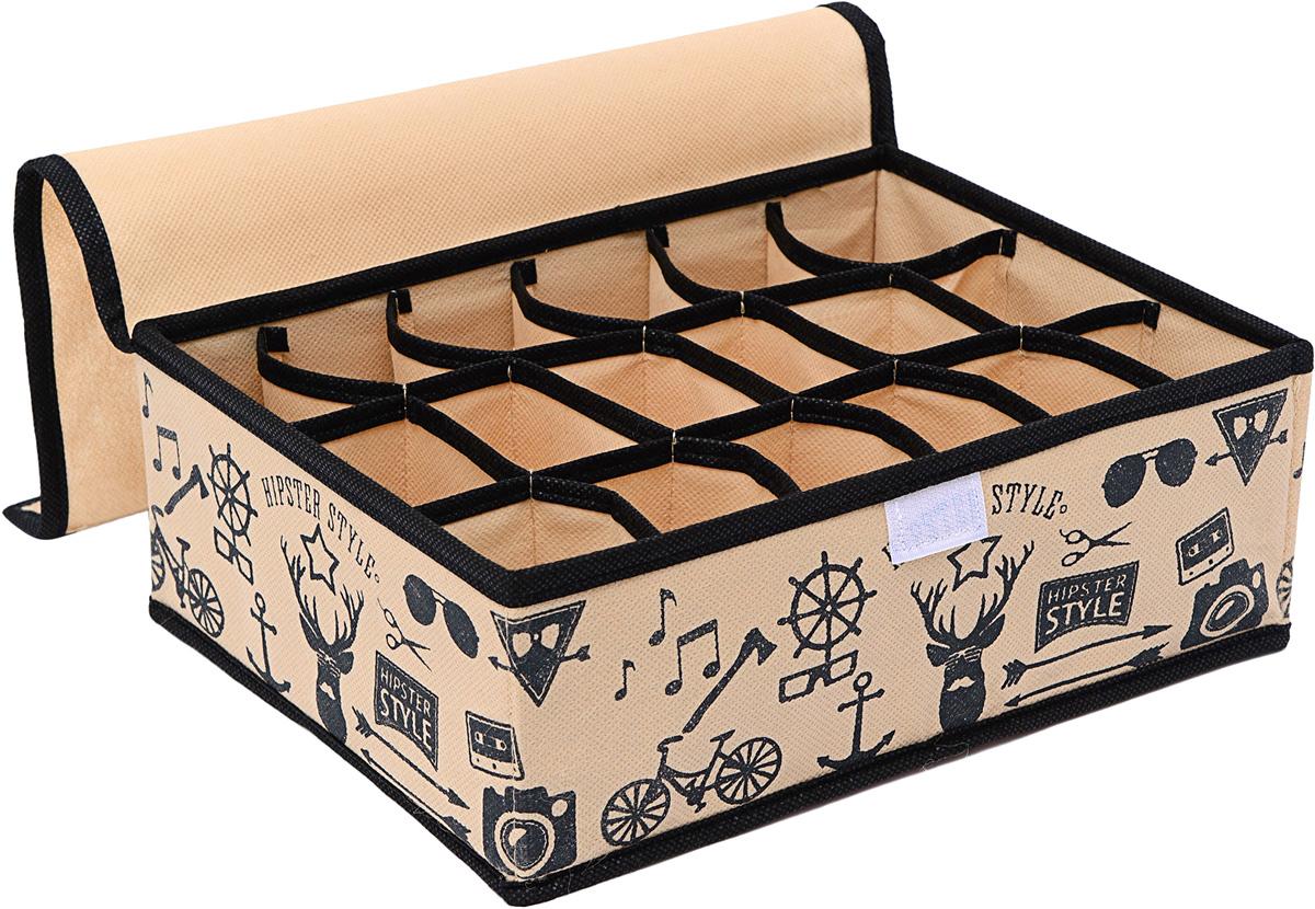 Органайзер Homsu Hipster Style, 18 секций, 31 х 24 х 11 см1004900000360Прямоугольный и плоский органайзер имеет 18 раздельных ячеек размером 7Х5см с крышкой очень удобен для хранения мелких вещей в вашем ящике или на полке. Идеально для носков, платков, галстуков и других вещей ежедневного пользования. Имеет жесткие борта, что является гарантией сохранности вещей. 310x240x110