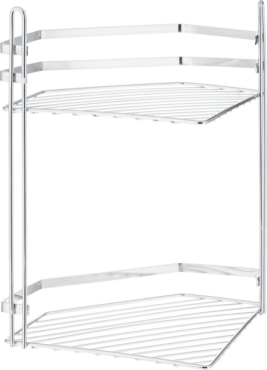 Полка для ванной Swensa Премиум, 2-ярусная с высоким бортом, угловая, цвет: хром, 27 х 20 х 33 см531-105Подвесная двуярусная полка Swensa Премиум, выполненная из стали и покрытая специальным хромо-никелевым покрытием, сэкономит место в ванной комнате. Полка подвешивается с помощью 2-х саморезов (входят в комплект). Она пригодится для хранения различных принадлежностей, которые всегда будут под рукой.Благодаря компактным размерам полка впишется в интерьер вашего дома и позволит вам удобно и практично хранить предметы домашнего обихода.
