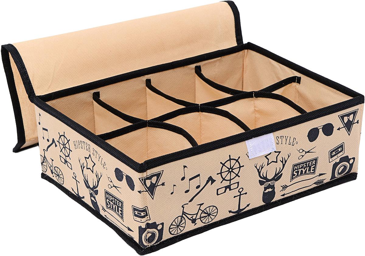 Органайзер Homsu Hipster Style, с крышкой, 8 секций, 31 х 24 х 11 см12723Прямоугольный и плоский органайзер имеет 8 раздельных ячеек размером 12Х8см, очень удобен для хранения вещей среднего размера в ящике или на полке. Идеально для белья, шапок, рукавиц и других вещей ежедневного пользования. Имеет жесткие борта, что является гарантией сохранности вещей. 310x240x110