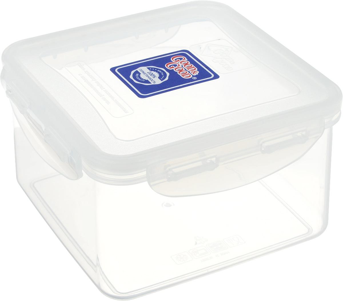 Контейнер Good&Good, цвет: прозрачный, 1,25 л21395599Квадратный контейнер Good&Good изготовлен из высококачественного полипропилена и предназначен для хранения пищевых продуктов. Не содержит BPA и абсолютно безвреден для здоровья. Благодаря особым технологиям изготовления, изделие в течение всего времени службы не меняет цвет и не пропитывается запахами. Крышка с силиконовой вставкой герметично защелкивается. Контейнер Good&Good удобен для ежедневного использования в быту.Можно мыть в посудомоечной машине, использовать в СВЧ при температуре не выше 100°С, пригоден для хранения в морозильной камере при температуре не ниже 20°С.