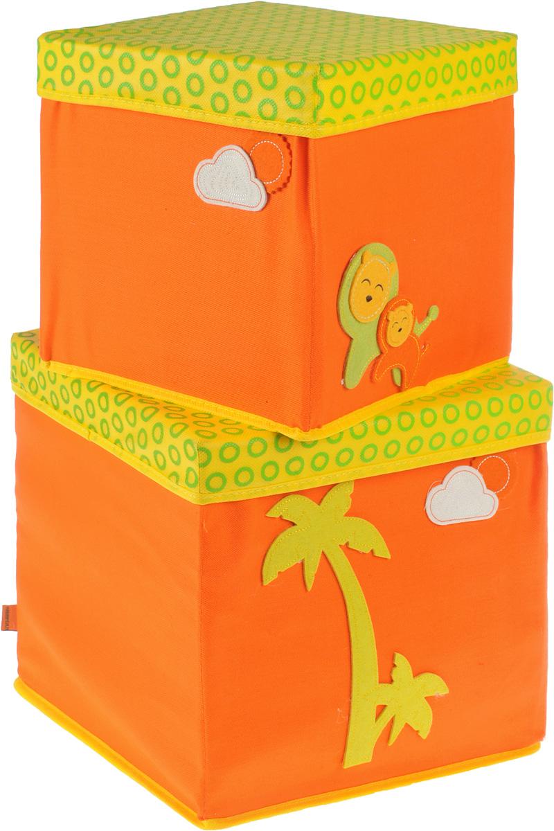 Набор коробок Все на местах Sunny Jungle, с крышками, цвет: желтый, оранжевый, 2 предмета. 1071031/11011008.Набор состоит из двух коробок с крышками для хранения игрушек или вещей.Изделия выполнены из высококачественного нетканого материала (спанбонда), который обеспечивает естественную вентиляцию, позволяя воздуху проникать внутрь, но не пропускаетпыль. Вставки из ПВХ хорошо держат форму.Набор коробок поможет удобно хранить вещи и игрушки. Размер коробок: 30 см х 30 см х 30 см; 25 см х 25 см х 25 см.
