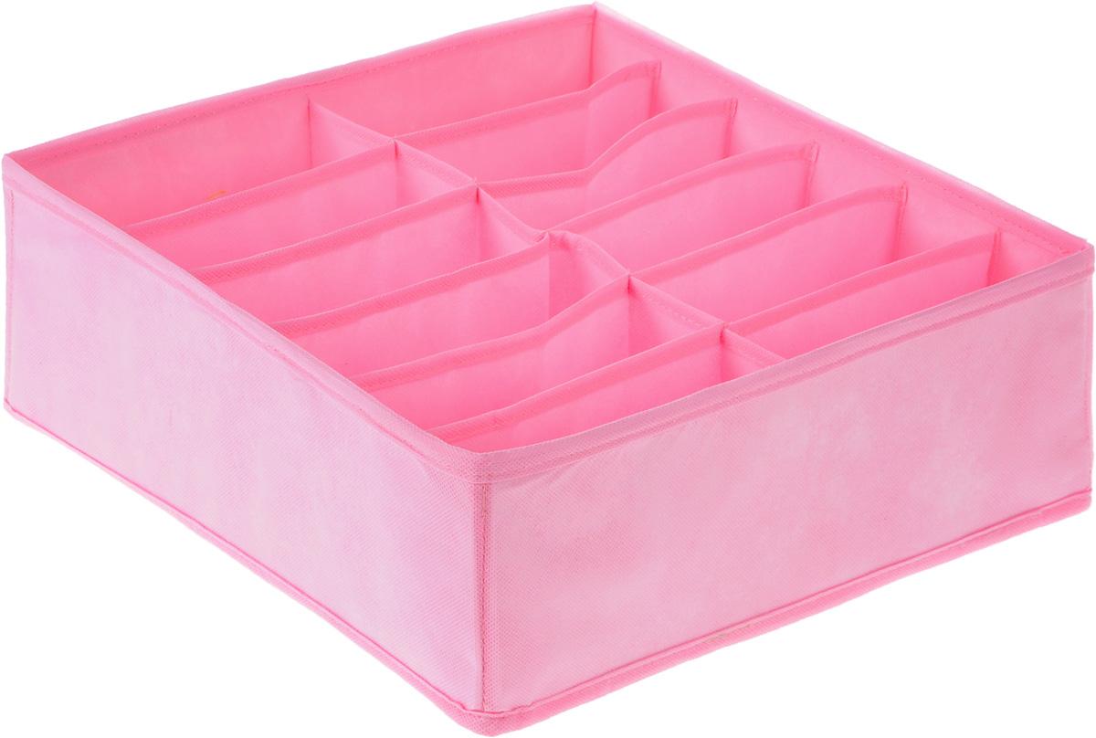 Органайзер Все на местах Minimalistic, цвет: розовый, 12 ячеек, 32 х 32 х 12 смБрелок для ключейОрганайзер Все на местах Minimalistic сшит из плотного нетканого материала, в дно органайзера вшита молния, позволяющая складывать и убирать его, если в нем отпала необходимость. Изделие с 12 прямоугольными секциями поможет вам хранить колготы, носки, трусы в идеальном порядке. Теперь все носки или все мелкие предметы нижнего белья поместятся в одном органайзере. Внутренние перегородки в коробе мягкие, что позволяет вещам легко разместиться внутри, наружные стенки укреплены пластиком, и поэтому короб отлично держит форму.Специально создан для использования в комодах и выдвижных ящиках. В сочетании с другими органайзерами позволит создать подходящую именно вам, максимально удобную и красивую систему хранения вещей, одежды и белья.