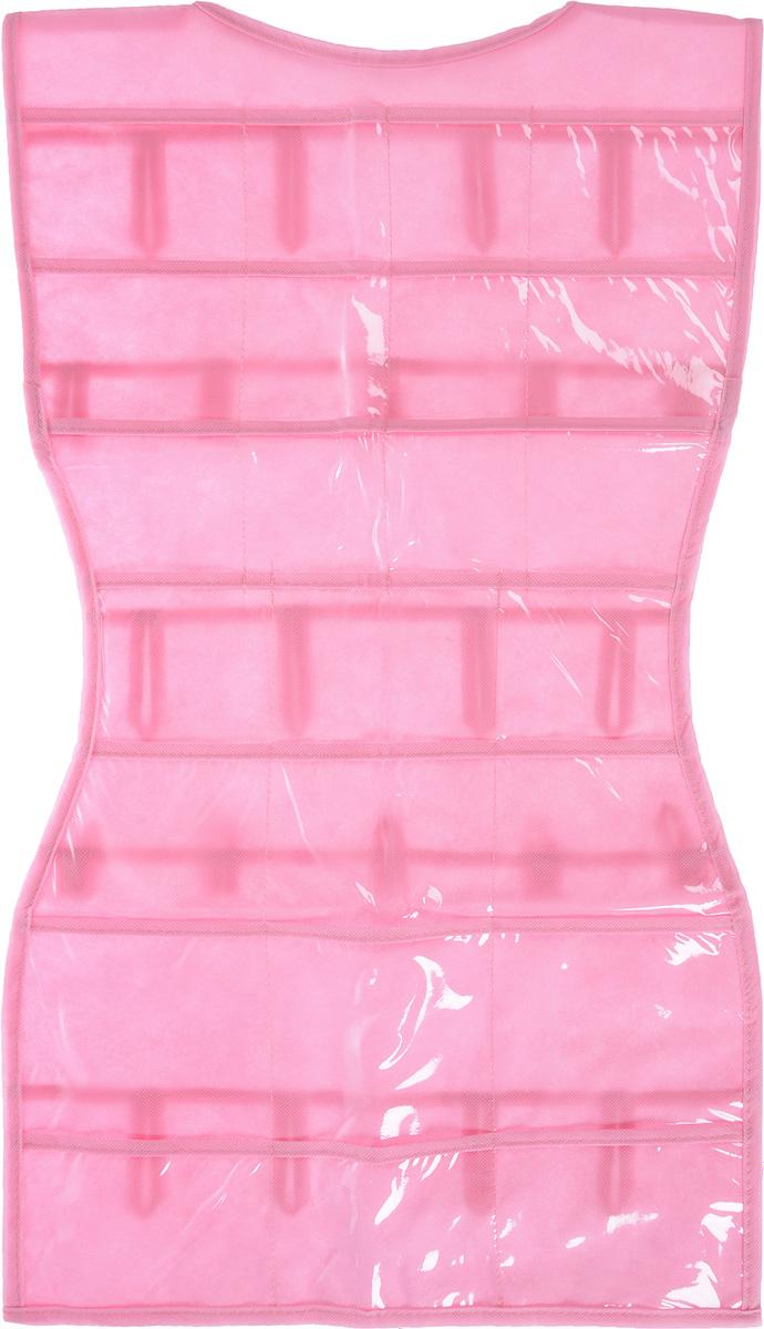 Органайзер для аксессуаров Все на местах Minimalistic. Платье, подвесной, цвет: розовый, 24 кармана, 70 x 40 см1004900000360Подвесной органайзер Все на местах Minimalistic. Платье, изготовленный из ПВХ и спанбонда, предназначен для хранения необходимых вещей, множества мелочей в гардеробной, ванной комнате. Изделие выполнено в форме платья с 24 пришитыми кармашками. Также с обратной стороны имеются петельки, на которые удобно вешать ремни и другие аксессуары.Этот нужный предмет может стать одновременно и декоративным элементом комнаты. Яркий дизайн, как ничто иное, способен оживить интерьер вашего дома. Размер органайзера: 70 х 40 см.