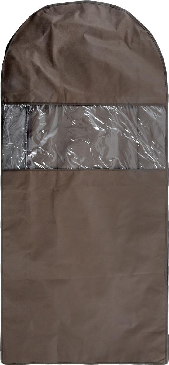 Чехол для одежды Все на местах Minimalistic, двойной, цвет: коричневый, 130 х 60 х 20 см1015034.Двойной чехол для одежды Все на местах Minimalistic выполнен из дышащего нетканого материала, который пропускает воздух, но не пропускает пыль, защищает вещи от выцветания и насекомых. В этот удобный и вместительный кофр поместятся целых шесть длинных платьев или четыре плаща. Прозрачное окошко значительно облегчает поиск необходимой вещи в гардеробе.Вам даже не придется сниматьчехол с вешалки, достаточно расстегнуть молнию в боковом шве, аккуратно извлечь нужную вещь и застегнуть чехол.Материал: спанбонд, ПВХ.Размеры: 130 х 60 х 20 см.