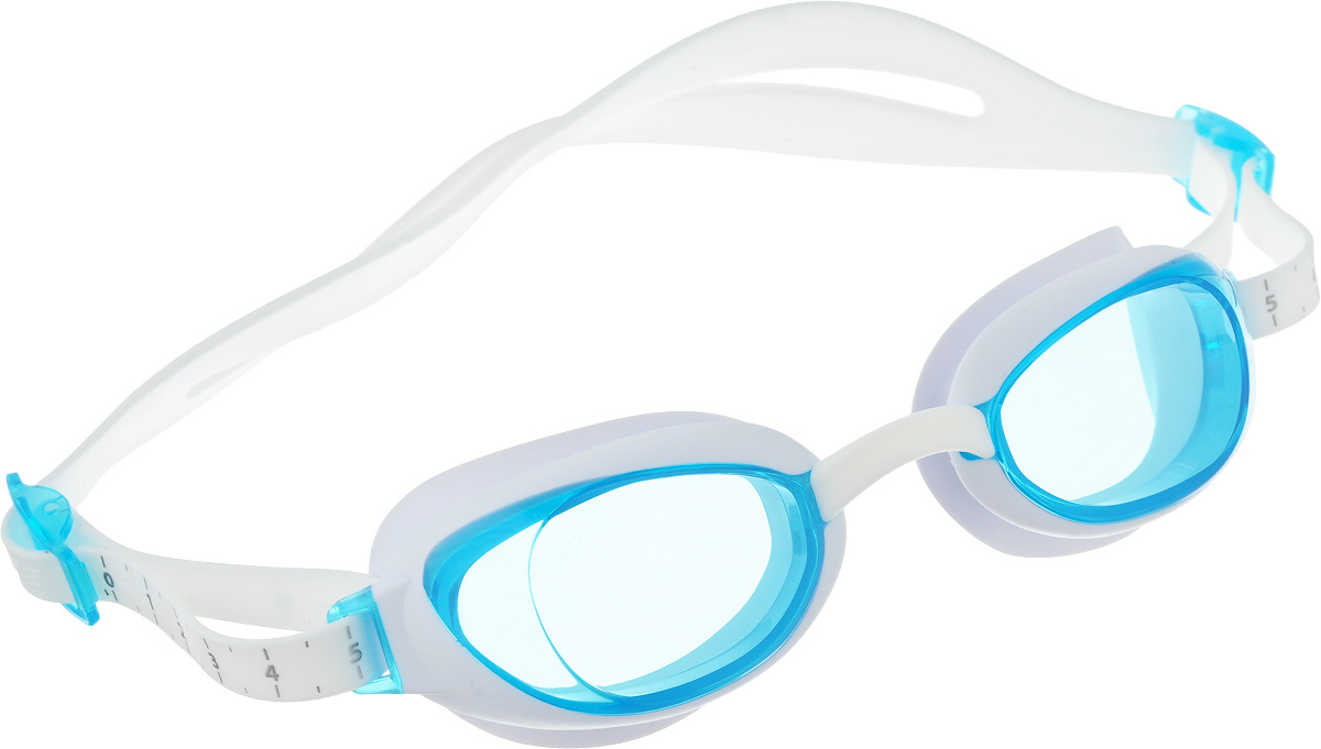Очки для плавания Speedo Aquapure Gog Af, цвет: белый, голубой90044284Стильные очки в женском дизайне Speedo Aquapure Gog Af оснащены технологией IQ FIT для оптимального комфорта. Специальная конструкция мягкого уплотнителя, учитывающего эргономику лица, минимизирует следы вокруг глаз после использования очков и обеспечивает плотное прилегание без протеканий воды. Конструкция очков предусматривает сменные носовые дужки для индивидуальной подстройки. AntiFog препятствует запотеванию линз. Голубые линзы снижают яркость бликов в воде и обеспечивают отличную видимость.В комплекте сумочка для переноски и хранения.