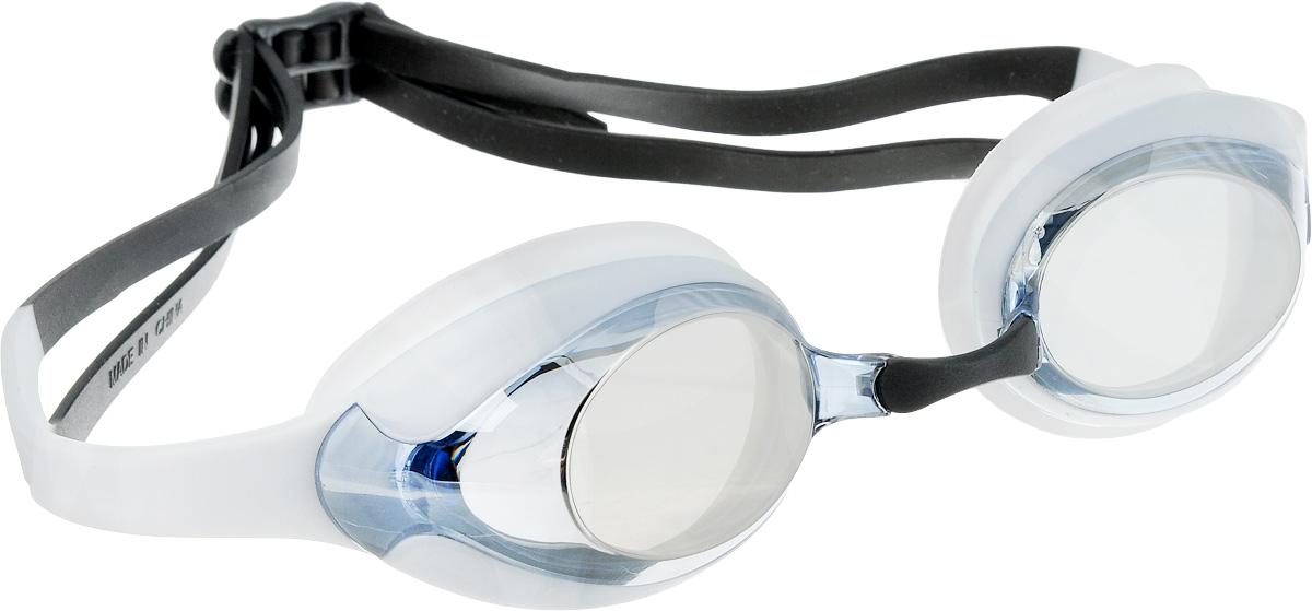 Очки для плавания Speedo Merit Mirror, цвет: белый, голубой527Удобные очки Speedo Merit Mirror с двойным силиконовым ремешком предназначены для спортивного плавания. Гипоаллергенный уплотнитель и ремешок очков выполнены из силикона. Сменные носовые дужки для индивидуальной подстройки. Линзы с зеркальным покрытием снижают яркость бликов в воде. AntiFog препятствует запотеванию линз.
