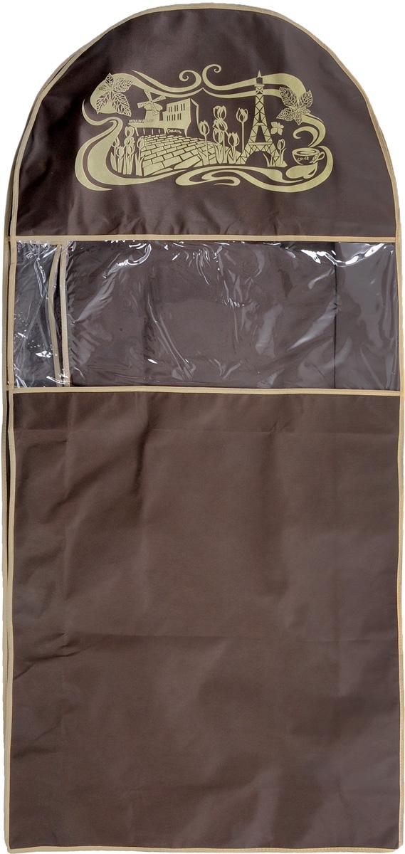 Чехол для шуб Все на местах Париж. Lux, длинный, цвет: темно-коричневый, бежевый, 130 х 58 х 18 см03610-210-00Чехол Все на местах Париж. Lux изготовлен из сочетания спанбонда и ПВХ и предназначен для хранения шуб. Нетканый материал чехла пропускает воздух, что позволяет изделиям дышать. Благодаря пластиковым вставкам чехол идеально держит форму и его стенки не соприкасаются с мехом изделия и не приминают его. С таким чехлом шуба надежно защищена от моли, пыли и механического воздействия. Застегивается на застежку-молнию.Материал: спанбонд, ПВХ.