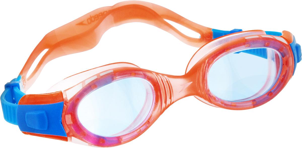 Очки для плавания Speedo Futura Biofuse, детские, цвет: оранжевый, голубойRivaCase 7560 redДетские очки для плавания Speedo Futura Biofuse будут незаменимы во время плавания в бассейне и открытой воде. Линзы Widevision изготовлены из ударопрочного поликарбоната, а внутренняя поверхность имеет покрытие AntiFog, препятствующее запотеванию линз и обеспечивающее круговой обзор и отличную видимость. Точное исполнение линз гарантирует отсутствие искажений. Технология BioFuse разработана для максимального комфорта без прогиба линз. Очки имеют защиту от ультрафиолетового излучения. Плотное прилегание очков и комфорт обеспечиваются силиконовыми наглазниками. Силиконовый ремешок можно регулировать по размеру.
