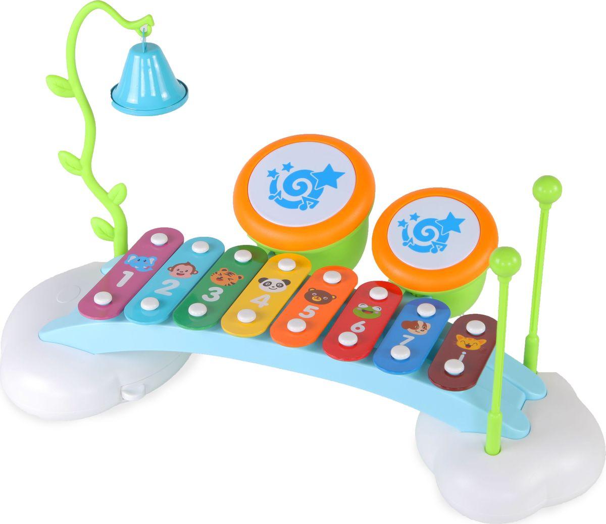 Huile Toys Музыкальный центр для малышей 3в1 Ксилофон Радуга Y61171 - Музыкальные инструменты