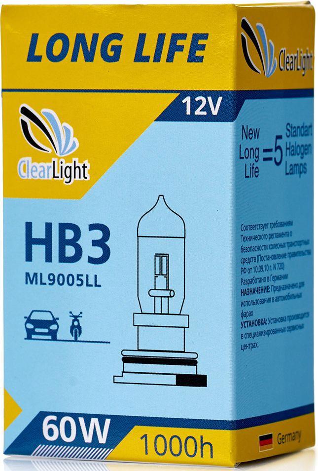 Лампа автомобильная галогенная Clearlight HB3 LongLifeS03301004LONG LIFE- высокая яркость с длительным сроком службы. Качество оригинальной лампы.