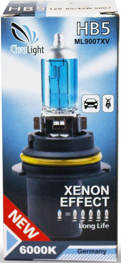 Лампа автомобильная галогенная Clearlight HB5 XenonVisionRC-100BWCXenonVision. Цветовая температура 6000К. В колбе используется уникальная ксеноновая смесь высокого давления, что позволяет сделать нить накала тоньше и длиннее. Цвет света распределен от белого по центру фары к насыщенно-белому в середине и слегка с голубым оттенком цвета к краю пучка света.