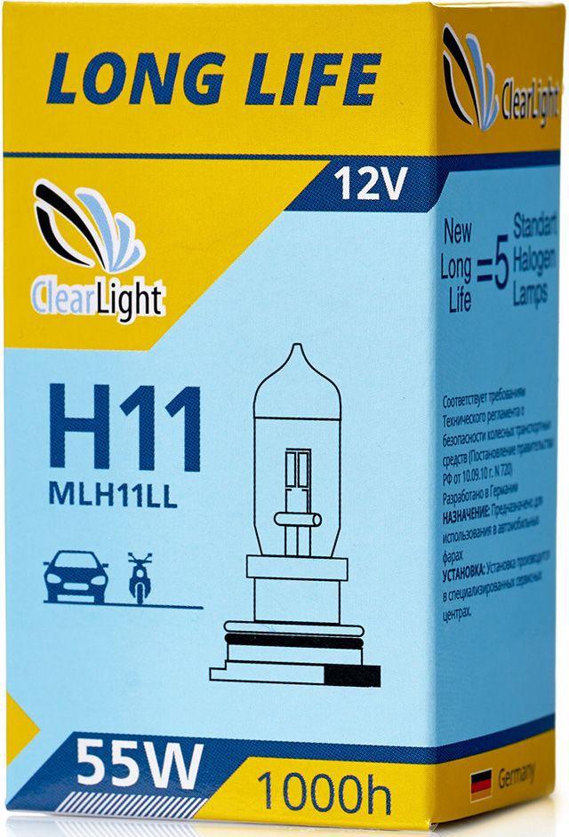 Лампа автомобильная галогенная Clearlight H11 LongLifeMLH11LLLONG LIFE- высокая яркость с длительным сроком службы. Качество оригинальной лампы.