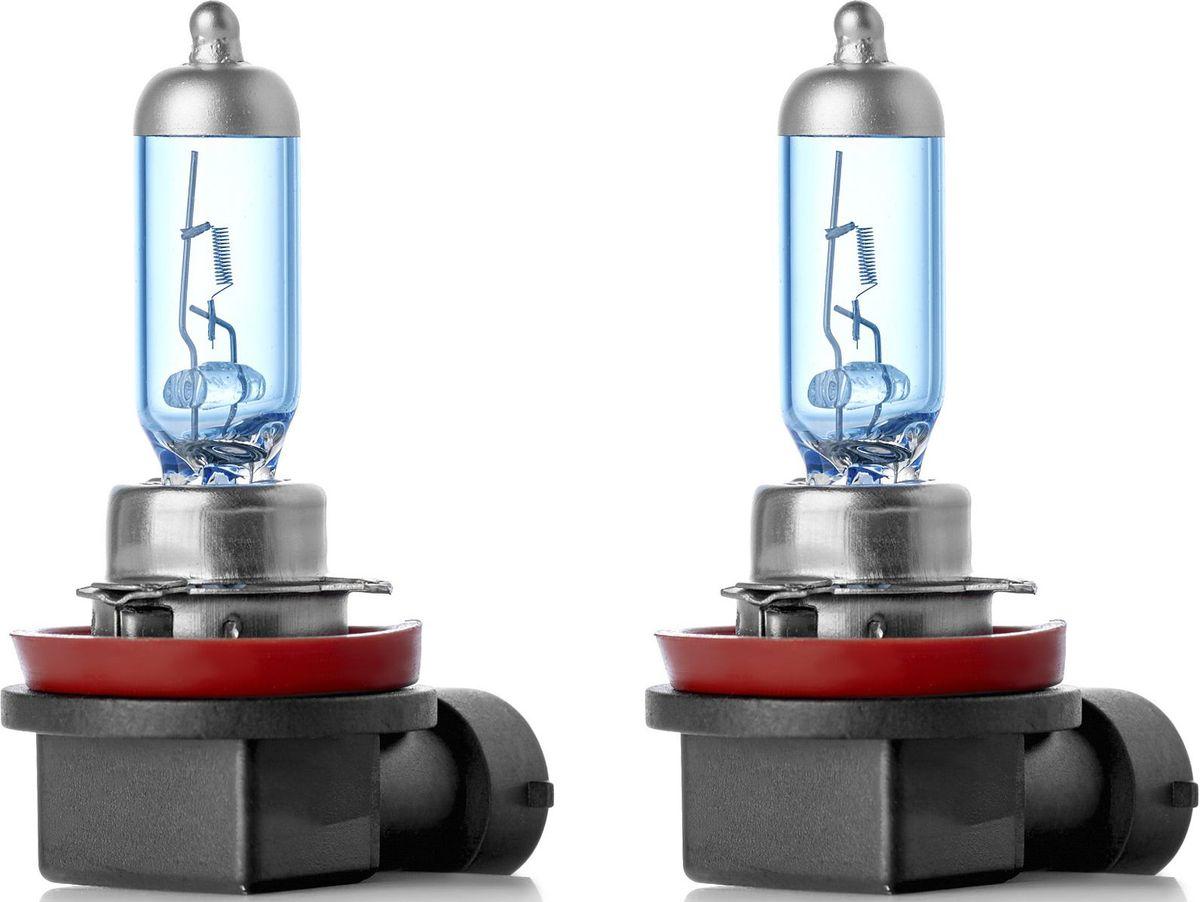 Лампа автомобильная галогенная Clearlight H8 X-treme Vision +120% Light, 2 шт10503X-treme Vision Дает увеличенный на 120% световой поток по сравнению со стандартными лампами, сохранив регламентированные стандарты мощности за счет увеличения длины нити накаливания, дополнительных витков спирали и специального состава газа в колбе. Цветовая температура смещена в сектор белого света, вместо желтоватого оттенка. Оптимальна для прохождения техосмотра и идеально подходит как для линзованной оптики, так и для обычных отражателей FF.