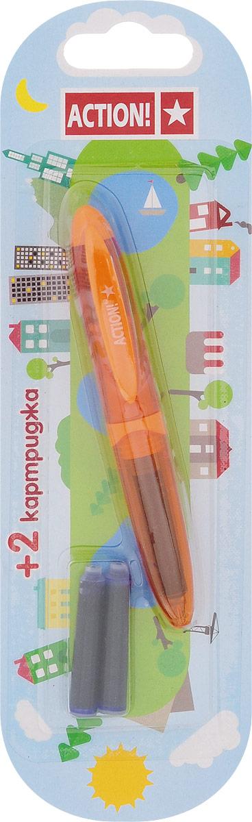 Action! Ручка перьевая с двумя картриджами цвет корпуса оранжевый AFP103772523WDПерьевая ручка Action! позволит ребенку почувствовать себя совсем взрослым, а также поможет выработать навыки каллиграфии и исправить неровный почерк.Перьевая ручка Action! с запасными картриджами отличается от взрослых ручек широким пластиковым корпусом и эргономичной зоной захвата. В комплекте три чернильных картриджа - один в ручке и два запасных в блистерном отсеке.
