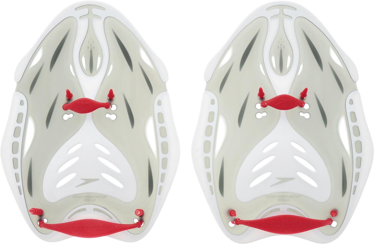 Лопатки для гребли Speedo  Biofuse Power Paddle Au , цвет: красный, серый, белый. Размер L - Плавание