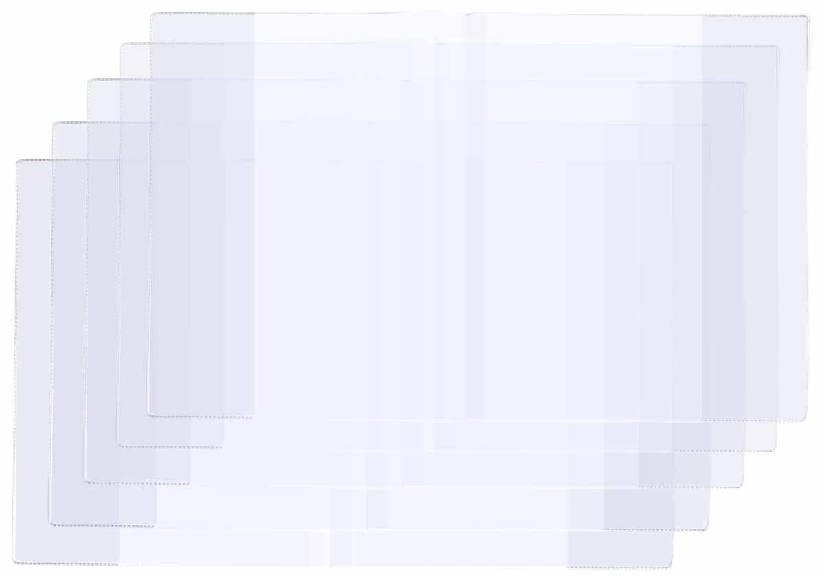 Panta Plast Набор обложек для тетрадей и дневников 5 шт72523WDНабор обложек для тетрадей и дневников с прозрачными клапанами, 100 мкм, размер 213х346 мм, упаковка 5 штук.