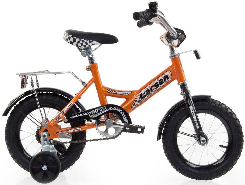 Велосипед детский Larsen Kids 12, цвет: оранжевый336206Велосипед детский Larsen Kids 12 - первый велосипед для вашего ребенка. Он снабжен двумя дополнительными страховочными колесиками - для того, чтобы ваш малыш мог легко и безопасно научиться держать равновесие, а затем и самостоятельно кататься на двухколесном велосипеде. Когда ребенок будет уже уверенно держаться в седле, страховочные колесики можно снять, превратив велосипед в двухколесный.Велосипед создан с учетом максимальной безопасности для малышей. Форма стальной рамы позволяет без лишних усилий забираться и сходить с велосипеда. Цепь и вращающиеся шестеренки четырехколесного друга спрятаны в защитный короб, исключая попадание туда одежды и малейшую возможность случайно поцарапаться. Защитные крылья спасают от грязи и не дают ребенку испачкаться даже после дождя.Велосипед имеет всего одну скорость - это для того, чтобы малыши не разгонялись очень сильно и не считали потом синяки. Вовремя остановиться поможет удобный ножной тормоз. А если торможение получится неожиданно резкое, то для этого на руле предусмотрена специальная мягкая накладка, чтобы максимально смягчить возможное столкновение.Характеристики:Рама: cталь Вилка: жёсткая, сталь Количество скоростей: 1 Размер колес: 12 Резина: 12х2.125 BMX PATTERN Передний переключатель: нет Задний переключатель: нет Обода: стальные усиленные 12 Тормоза: втулочные, ножные тормоза Дополнительное оборудование: гудок, отражатели, дополнительные колёса