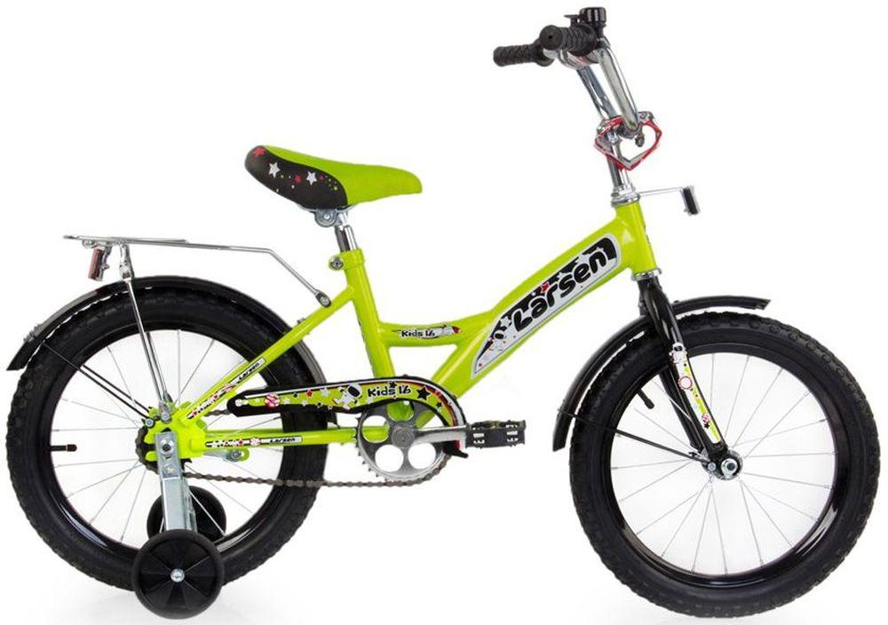 Велосипед детский Larsen Kids 16, цвет: лайм336214Велосипед детский Larsen Kids 16 - оборудован двумя дополнительными страховочными колесиками, которые помогают безопасно учиться держать равновесие. Когда Вы поймете, что Ваш ребенок уже уверенно управляет велосипедом и страховка ему уже не нужна, то просто отсоедините эти маленькие колесики. Велосипед тут же превратится в двухколесный.Велосипед для детей 5 - 6 лет Larsen Kids 16 базируется на стальной раме, форма которой позволяет детям достаточно безопасно забираться и сходить с велосипеда. Цепь и вращающиеся шестеренки прикрыты защитным коробом, чтобы движущийся механизм случайно не зажевал порчины брюк или не поцарапал голые ножки. Если ребенок катается после дождя, то от летящей грязи защищают крылья над колесами.Четырехколесный велосипед Larsen Kids 16 обладает надувными колесами, которые позволяют мягче преодолевать небольшие неровности дороги. Для того, чтобы особенно отважные девочки не разгонялись очень сильно и не считали потом синяки, детский велосипед Larsen Kids 16 имеет всего одну скорость, а классический ножной тормоз позволит им вовремя остановиться.Характеристики:Рама: сталь Вилка: жесткая сталь Количество скоростей: 1 Размер колес: 16 Резина: 16х2.125 BMX PATTERN Передний переключатель: нет Задний переключатель: нет Обода: стальные усиленные 16 Тормоза: втулочные, ножные тормоза Дополнительное оборудование: гудок, отражатели, дополнительные колёса