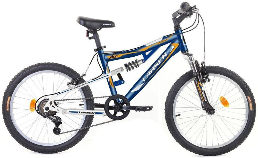 Велосипед Larsen Raptor 20, цвет: синий, белый336214Велосипед Larsen Raptor 20 - это подростковый велосипед, который станет прекрасным подарком для вашего ребенка. Характеристики:Рама: сталь, двухподвес Вилка: Zoom bravo-327l Количество скоростей: 6 Размер колес: 20 Резина: Wanda p104(A),20х2.125 Передний переключатель: нет Задний переключатель: Sunrace RDM2T Шифтеры: Sunrace TSM28 Обода: алюминий 6061-t6 Втулка передняя: SF-HB03FQR Втулка задняя: Anteng kt-122rqr Тормоза: V - образные Дополнительное оборудование: подножка, отражатели, крылья
