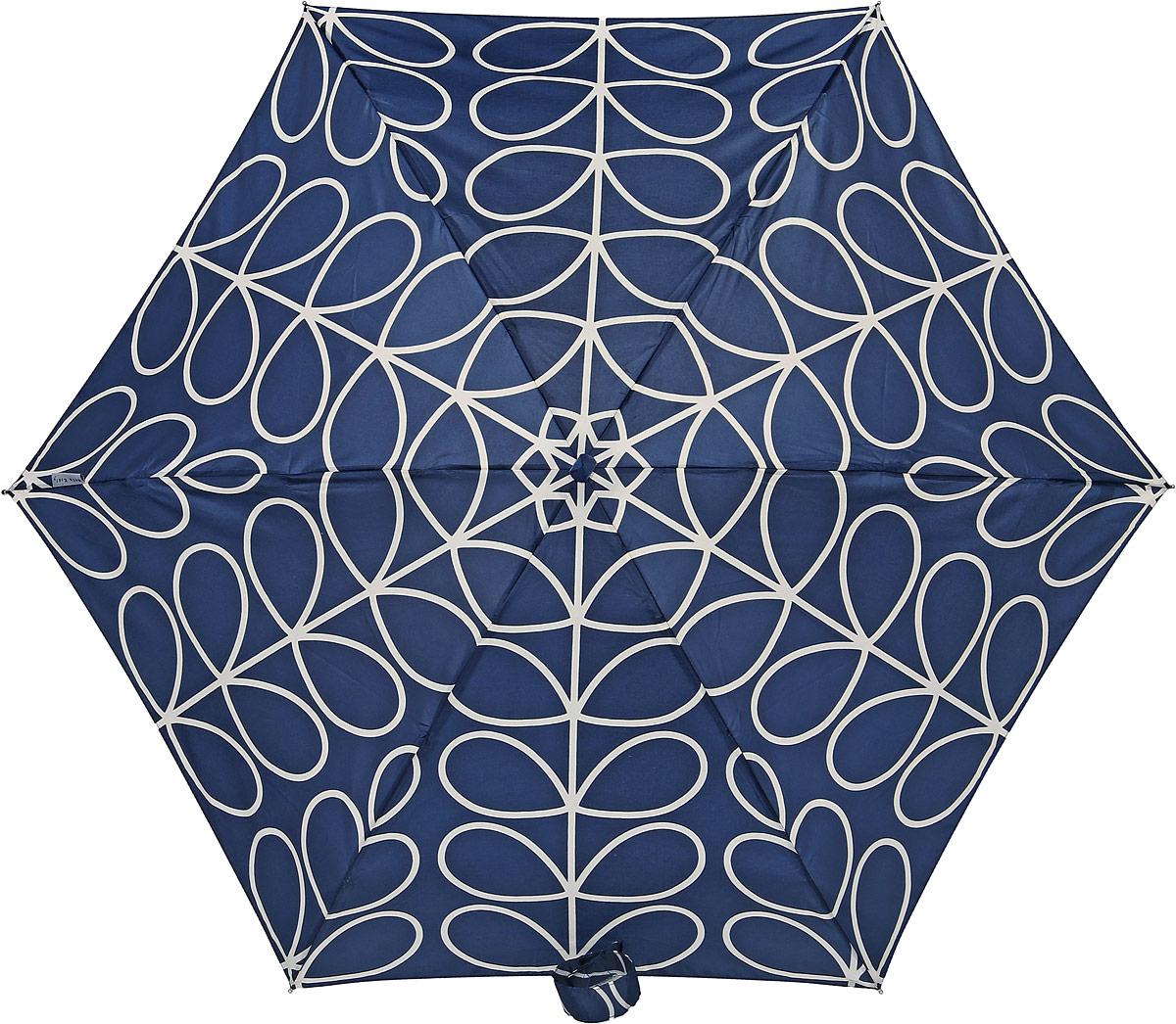 Зонт женский Orla Kiely Tiny, механический, 5 сложений, цвет: темно-синий, бежевый. L744-2778K50K503414_0010Стильный механический зонт Orla Kiely Tiny в 5 сложений даже в ненастную погоду позволит вам оставаться элегантной. Облегченный каркас зонта выполнен из 6 спиц из фибергласса и алюминия, стержень также изготовлен из алюминия, удобная рукоятка - из дерева. Купол зонта выполнен из прочного полиэстера. В закрытом виде застегивается хлястиком на липучке. Яркий оригинальный рисунок в виде оригинальных листьев поднимет настроение в дождливый день.Зонт механического сложения: купол открывается и закрывается вручную до характерного щелчка.На рукоятке для удобства есть небольшой шнурок, позволяющий надеть зонт на руку тогда, когда это будет необходимо. К зонту прилагается чехол, который оформлен нашивкой с названием бренда. Такой зонт компактно располагается в кармане, сумочке, дверке автомобиля.