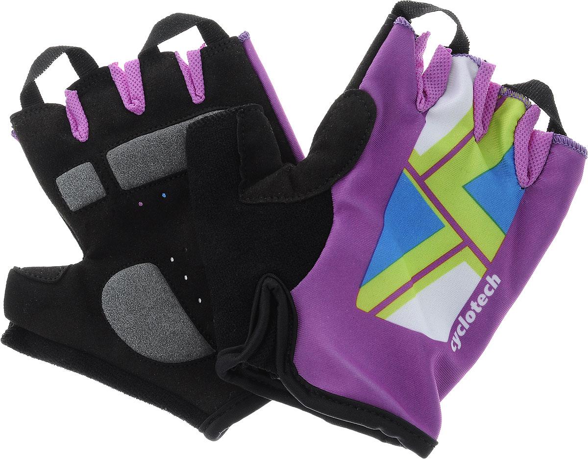 Велоперчатки Cyclotech Canna Bike, цвет: черный, фиолетовый. Размер S2712Велоперчатки Cyclotech Canna Bike отлично садятся по руке. Ладонь выполнена из полиамида и дополнена объемными вставками, тыльная сторона изготовлена из эластана и нейлона. Благодаря резинке перчатки легко надевать. Перчатки хорошо вентилируются, не дают руке скользить на руле и гасят неприятные вибрации.