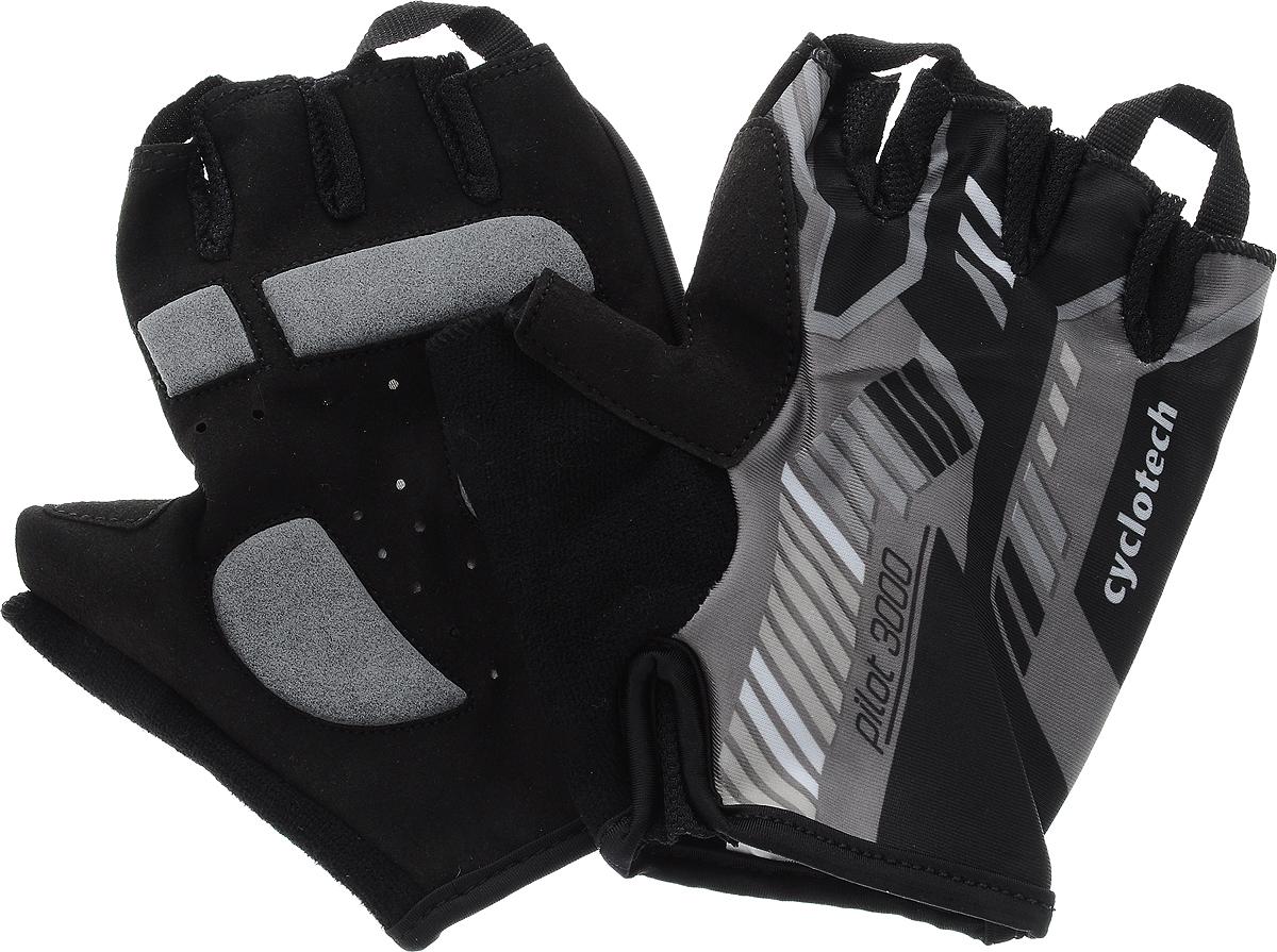 Велоперчатки Cyclotech Pilot, цвет: черный, серый. Размер LPILOT-RВелоперчатки Cyclotech Pilot отлично садятся по руке. Ладонь выполнена из полиамида и дополнена объемными вставками, тыльная сторона изготовлена из эластана и хлопка. Благодаря резинке перчатки легко надевать. Перчатки хорошо вентилируются, не дают руке скользить на руле и гасят неприятные вибрации.