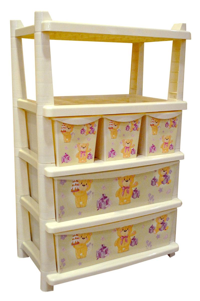 Little Angel Детский комод Bears 5 ящиковZ-0307Вместительный, современный и удобный дизайн комода идеально подойдет для детской комнаты. Сглаженные углы и облегченная конструкция комода безопасны даже для самых активных малышей. Спокойные пастельные цвета комода станут прекрасным дополнением для детской комнаты. Детский комод отличается от остальных комодов особой вместительностью. 5 ящиков разного размера позволяют сортировать детские игрушки и вещи.Размеры комода: высота - 900 мм, длина - 620 мм, ширина - 420 мм. Содержит: 3 ящика: 400 х 177 х 169 мм. 2 ящика: 400 х 537 х 169 мм.