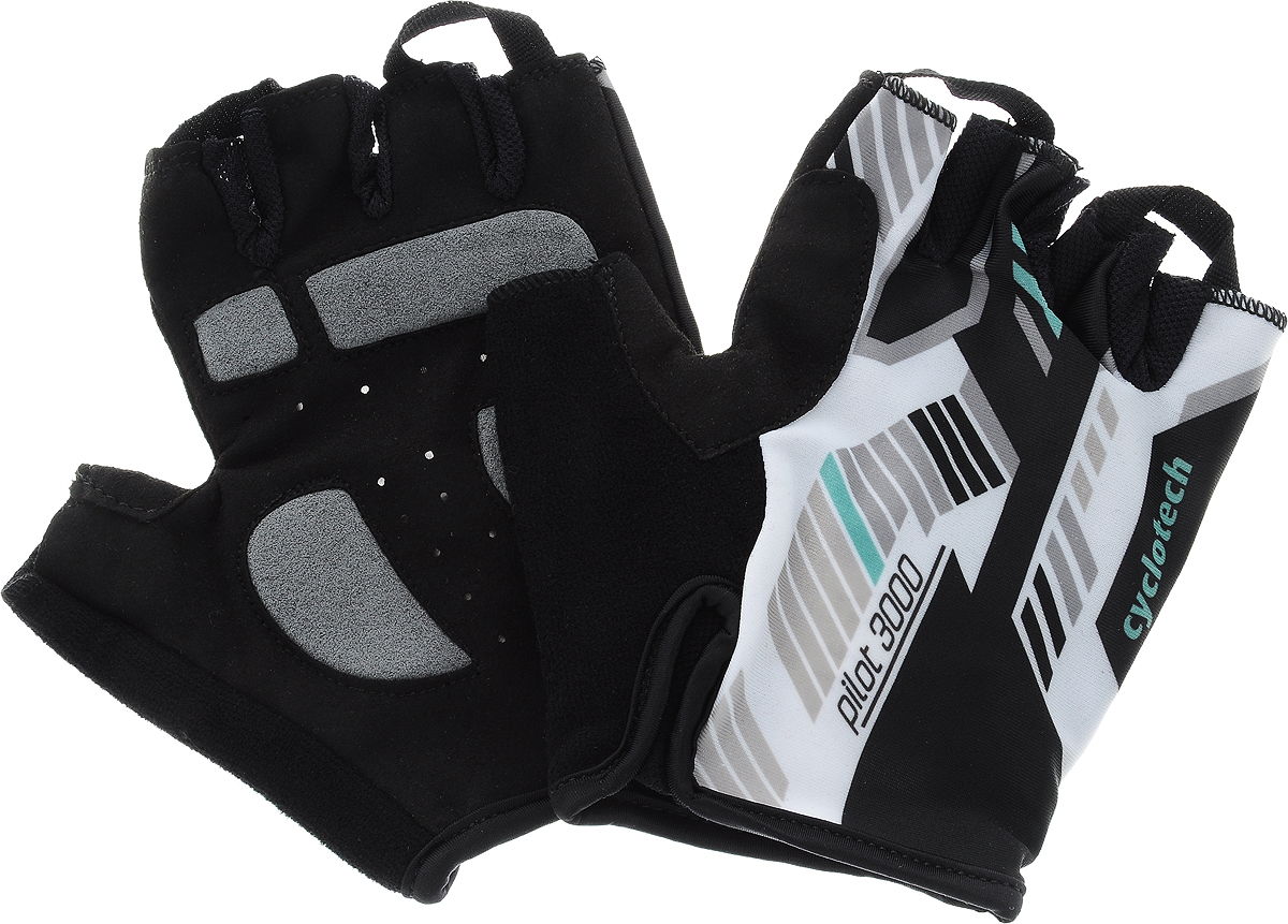Велоперчатки Cyclotech Pilot, цвет: черный, белый, зеленый. Размер LZ90 blackВелоперчатки Cyclotech Pilot отлично садятся по руке. Ладонь выполнена из полиамида и дополнена объемными вставками, тыльная сторона изготовлена из эластана и хлопка. Благодаря резинке перчатки легко надевать. Перчатки хорошо вентилируются, не дают руке скользить на руле и гасят неприятные вибрации.