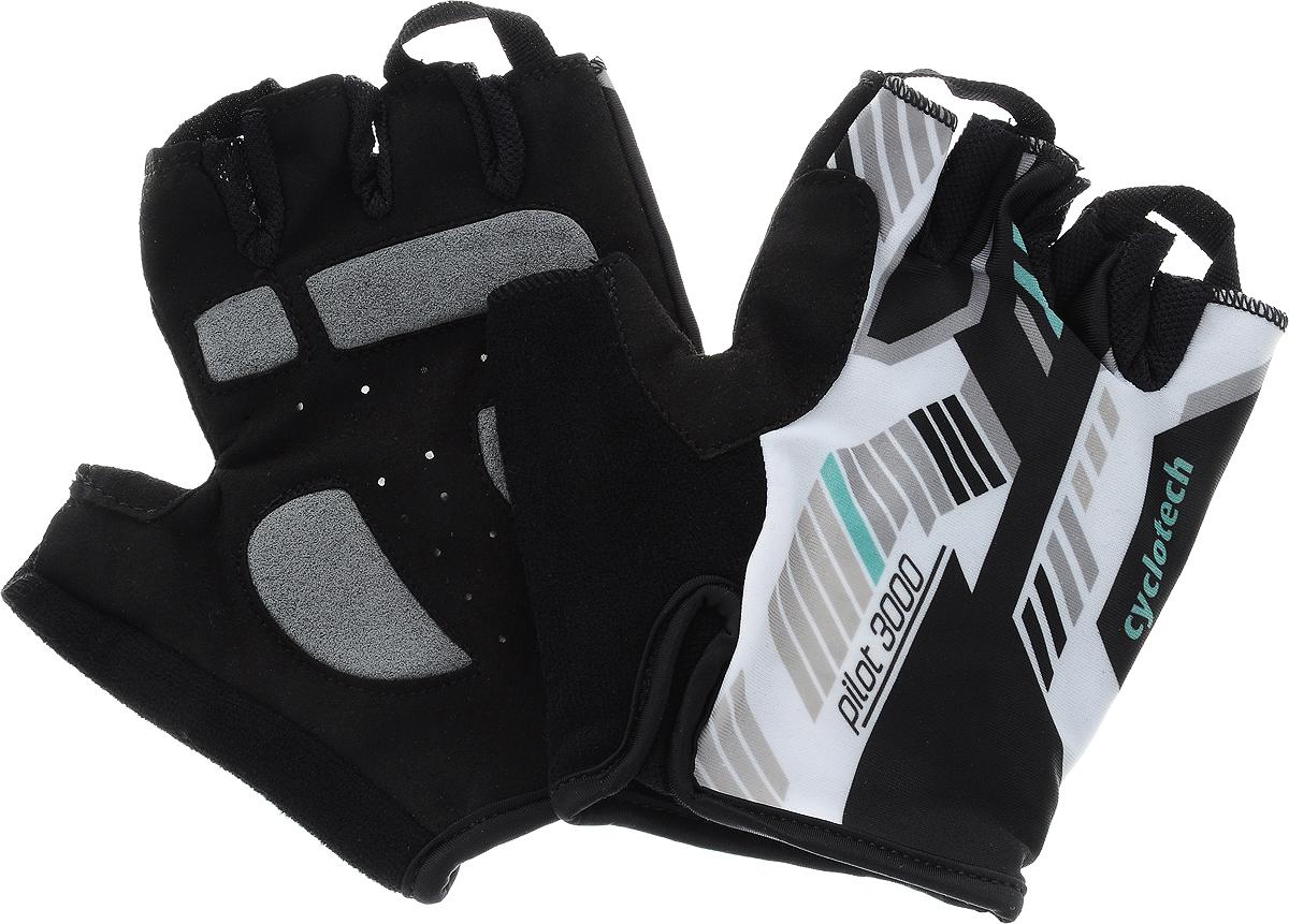 Велоперчатки Cyclotech Pilot, цвет: черный, белый, зеленый. Размер MZ90 blackВелоперчатки Cyclotech Pilot отлично садятся по руке. Ладонь выполнена из полиамида и дополнена объемными вставками, тыльная сторона изготовлена из эластана и хлопка. Благодаря резинке перчатки легко надевать. Перчатки хорошо вентилируются, не дают руке скользить на руле и гасят неприятные вибрации.