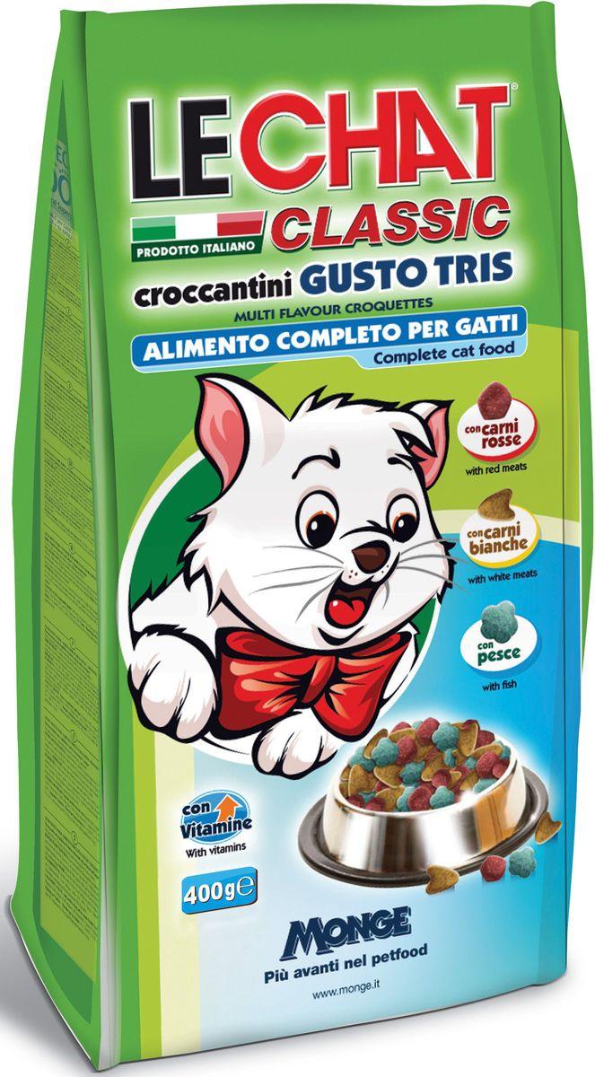 Консервы Monge Lechat Cat Gusto Tris, для кошек, трио вкусов (говядина, курица, рыба), 400 гJBL4129800Анализ компонентов: белок 30%, сырые масла и жиры 12%, сырая зола 9%, сырая клетчатка 2,5%.Пищевые добавки: витамин А (как ретинол ацетат) 15000 МЕ, витамин D3 (как кальциферол) 1100МЕ, витамин Е (альфа-токоферол ацетат) 85 мг/кг, сульфат железа моногидрат 270 мг/кг (железа 80 мг/кг), оксид цинка 100 мг/кг (цинк 75 мг/кг), сульфат марганца моногидрат 45 мг/кг (марганец 15 мг/кг), сульфат меди пентагидрат 25 мг/кг (меди 6 мг/кг), йодат кальция безводный 1,30 мг/кг (йод 0,8 мг/кг), селенит натрия 0,23 мг/кг (селен 0,10 мг/кг).Аминокислоты: таурин 0,14%,Технологические добавки: антиоксиданты.Злаки, мясо и мясные субпродукты (говядины мин. 8%, курицы мин. 5%), рыба и рыбные субпродукты (рыбы мин. 5%), масла и жиры, овощи, минералы, дрожжи (маннаноолигосахариды (МОС) 400 мг/кг), фруктоолигосахариды (ФОС) 400 мг/кг, юкка Шидигера 1000 мг/кг.Корм должен быть доступен кошке без ограничения количества. Она будет съедать ровно столько, сколько необходимо её организму для поддержания оптимального веса. При избыточном весе и/или наличии других клинических проблем, рекомендуется ограничивать суточную норму корма в соответствии с рекомендациями вашего ветеринарного врача. Суточная норма: 60/70грамм в день для взрослой кошки. ВАЖНО, чтобы у животного всегда был свободный доступ к свежей и чистой воде. Новый корм рекомендуется вводить постепенно, увеличивая его количество каждый день до полного замещения им старого корма приблизительно через неделю.