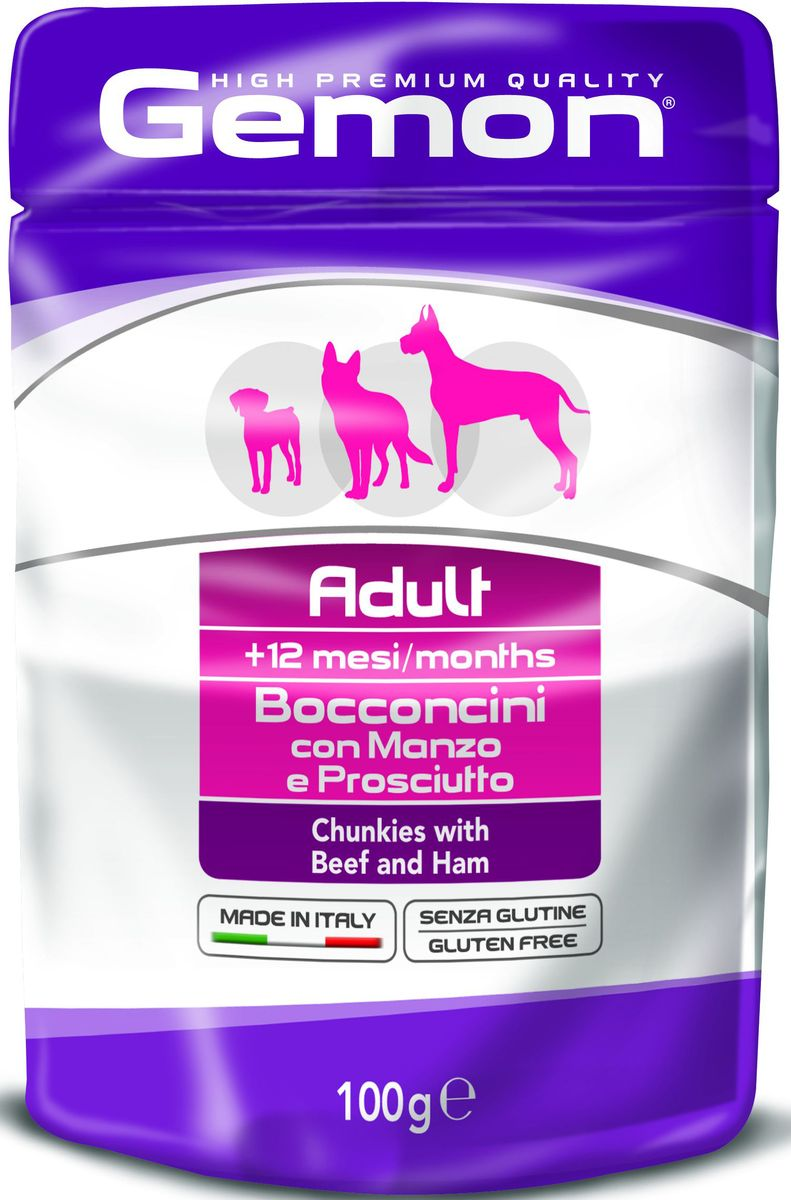 Консервы Monge Gemon Dog Pouch, для собак, кусочкиговядины с ветчиной, 100 гDP111GПолноценный, сбалансированный влажный корм для собак с кусочками говядины и ветчины. Специально разработан для ежедневного кормления взрослых собак всех пород с нормальной физической активностью в возрасте 1-8 лет.Сырой белок 8,5%, сырые масла и жиры 6,5%, сырая клетчатка 0,5%, сырая зола 2,0%, влажность 79%. Витамины и добавки/кг: витамин А 2000 МЕ, витамин D3 200 МЕ, витамин Е (альфа-токоферол ацетат) 5 мг.Мясо и мясные субпродукты 45% (из нихговядины мин. 6%, ветчины мин. 6%), минеральные вещества.Технологические добавки: загустители и желеобразующие компоненты.Подавать корм комнатной температуры. Важно, чтобы животное всегда имело доступ к чистой, свежей воде. Собакам мелких пород необходимо 3-4 пауча в день. При определении суточной нормы кормления соблюдайте рекомендации Вашего ветеринарного врача.