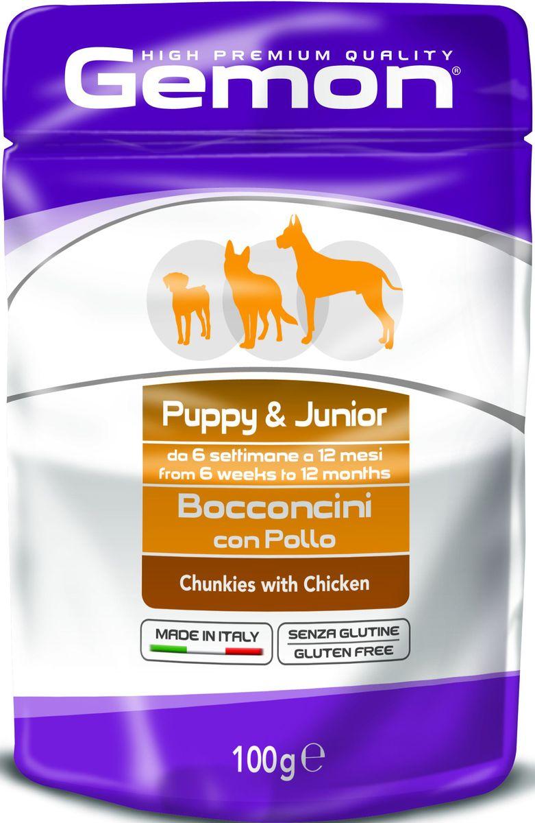 Консервы Monge Gemon Dog Pouch, для щенков, кусочки курицы, 100 г0120710Полноценный, сбалансированный влажный корм с кусочками курицы для щенков в возрасте от 2 до 10 месяцев. Также рекомендуется во время беременности и лактации животного. Корм обогащен белками, витаминами и минералами,необходимыми для здорового роста и развития щенка.Сырой белок 8,5%, сырые масла и жиры 6%, сырая клетчатка 2%, сырая зола 2%, влажность 80%. Витамины и добавки/кг: витамин А 3000 МЕ, витамин D3 250 МЕ, витамин Е (альфа-токоферол ацетат) 5 мг.Мясо и мясные субпродукты 45% (из них курицы мин. 20%, минеральные вещества, рыба и рыбные субпродукты (источник хондроитина), ракообразные и моллюски (источникглюкозамина).Технологические добавки: загустители и желеобразующие компоненты.Подавать корм комнатной температуры. Важно, чтобы животное всегда имело доступ к чистой, свежей воде. Собакам мелких пород необходимо 3-4 пауча в день. При определении суточной нормы кормления соблюдайте рекомендации Вашего ветеринарного врача.