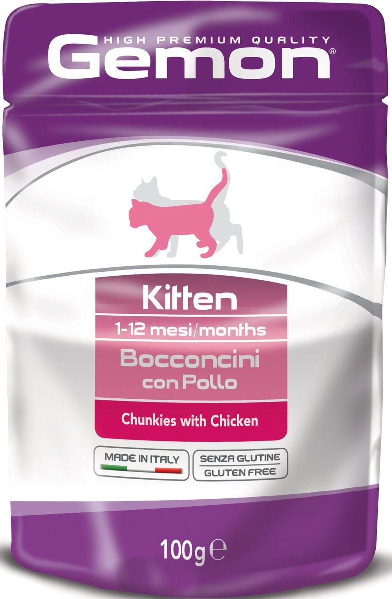 Консервы Monge Gemon Cat Pouch, для котят, кусочки курицы, 100 г101246Полноценный, сбалансированный влажный корм с кусочками курицы для котят в возрасте от 1 до 12 месяцев. Также рекомендуется во время беременности и лактации животного. Корм обогащен белками, витаминами и минералами,необходимыми для здорового роста и развития котенка.Сырой белок 8%, сырые масла и жиры 7%, сырая клетчатка 0,5%, сырая зола 1,9%. Влажность 80%.Витамины и добавки/кг: витамин А 3000 МЕ, витамин D3 250 МЕ, витамин Е (альфа-токоферол ацетат) 5 мг, таурин 500 мг.Мясо и мясные субпродукты 45% (из них курицы мин.20%), минеральные вещества, рыба и рыбные субпродукты (источник хондроитина), ракообразные и моллюски (источникглюкозамина).Технологические добавки: загустители и желеобразующие компоненты.Подавать корм комнатной температуры. Важно, чтобы животное всегда имело доступ к чистой, свежей воде. Кошкам средних размеров необходимо 2-3 пауча в день.