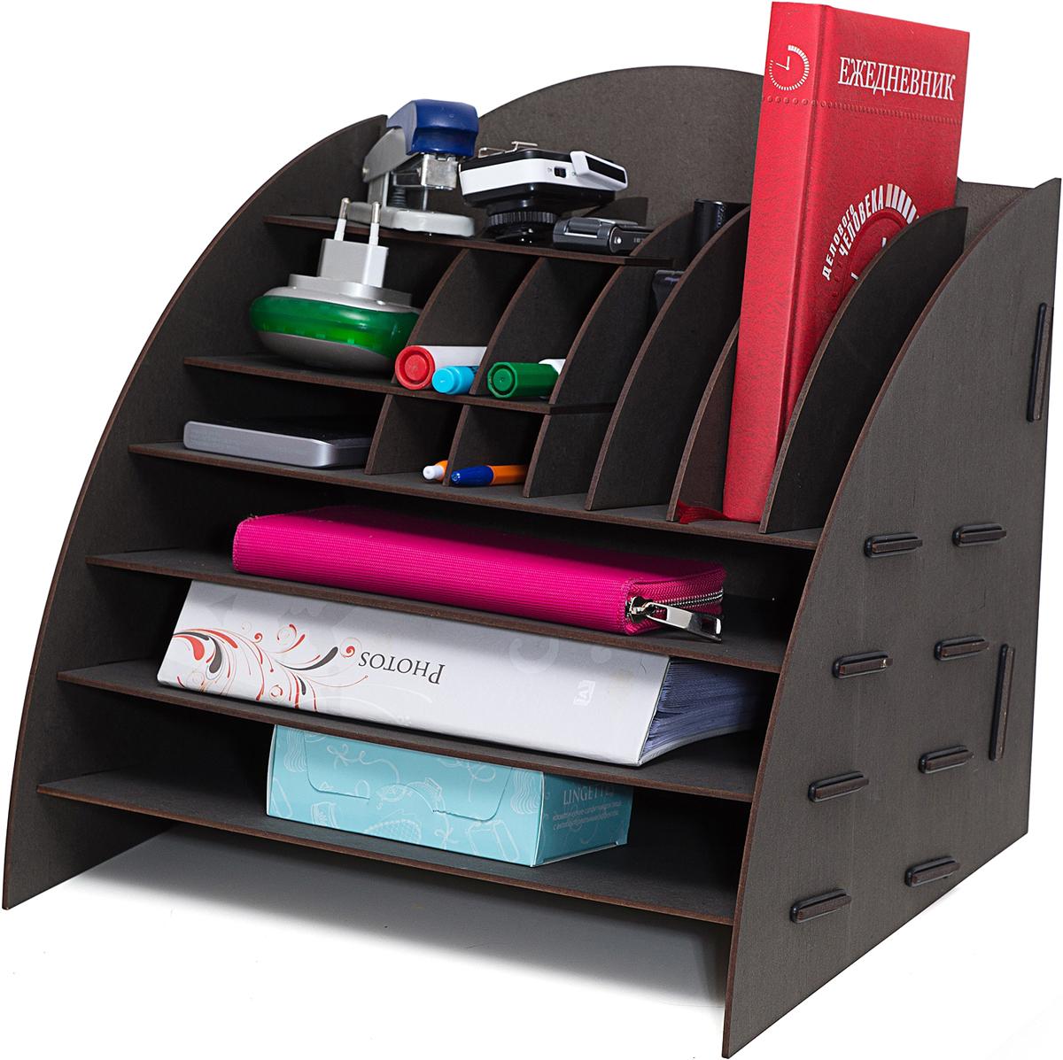 Органайзер на стол Homsu, 16 отделов, 35,5 х 32 х 34 смEXCELLENT 70021-1W CHROMEЭтот настольный органайзер просто незаменим на рабочем столе, он вместителен, его размеры впечатляют и в то же время он не занимает много места. Оригинальный дизайн дополнит интерьер дома и разбавит цвет в скучном сером офисе. Он изготовлен из МДФ и легко собирается из съемных частей. Имеет 3 больших отделения для хранения документов и множество ячеек для хранения канцелярских предметов и всяких мелочей.