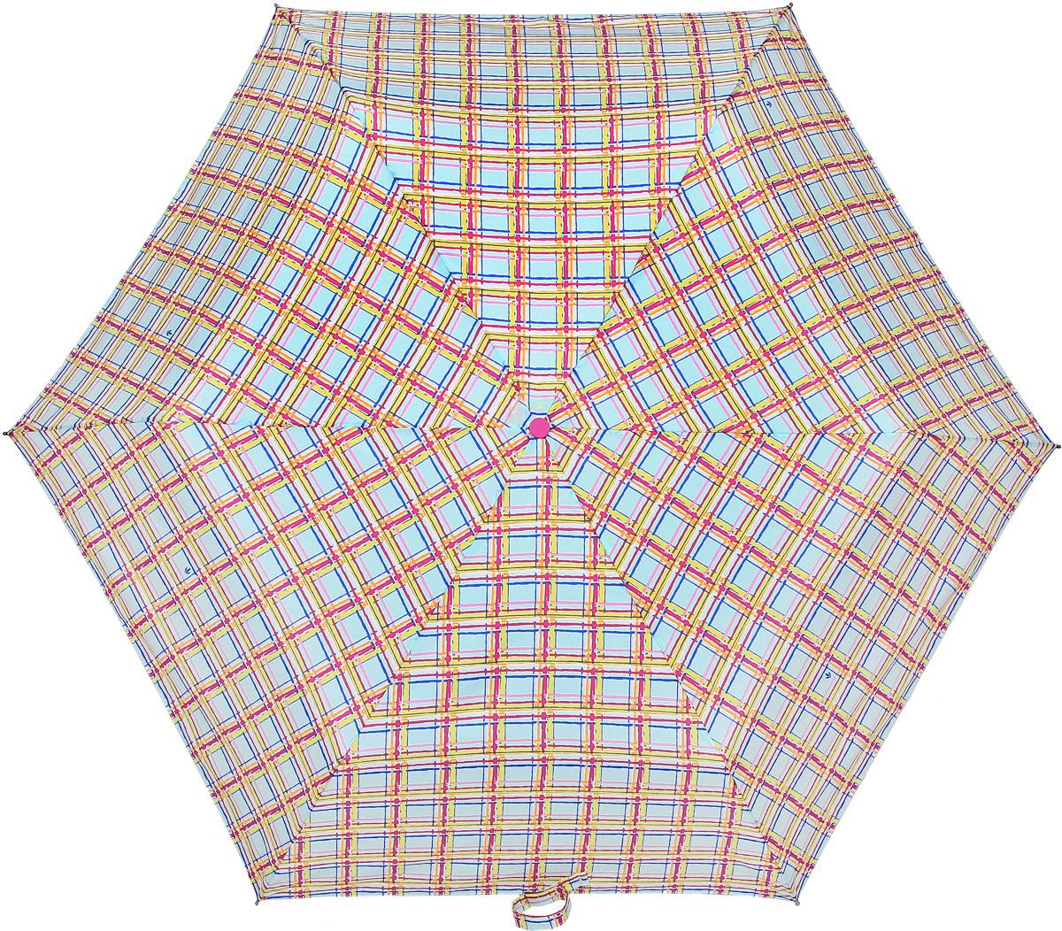 Зонт женский Fulton, механический, 3 сложения, цвет: мультиколор. L553-3371Колье (короткие одноярусные бусы)Стильный механический зонт Fulton имеет 3 сложения, даже в ненастную погоду позволит вам оставаться стильной. Легкий, но в тоже время прочный алюминиевый каркас состоит из шестиспиц с элементами из фибергласса. Купол зонта выполнен из прочного полиэстера с водоотталкивающей пропиткой. Рукоятка закругленной формы, разработанная с учетом требований эргономики, выполнена из каучука. Зонт имеет механический способ сложения: и купол, и стержень открываются и закрываются вручную до характерного щелчка.