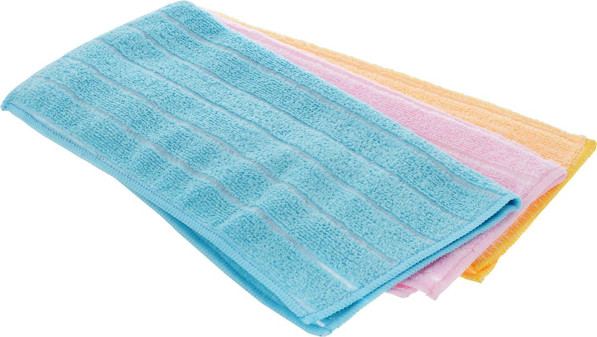Салфетка универсальная Soavita, цвет: голубой, розовый, желтый, 30 х 30 см, 3 шт787502Набор Soavita состоит из трех салфеток, выполненных из микрофибры (80% полиэстер и 20% полиамид). Изделия отлично впитывают влагу, быстро сохнут, сохраняют яркость цвета и не теряют форму даже после многократных стирок. Подходят для чистки и полировки бытовой техники, салона автомобиля, компьютеров, мебели. Салфетки универсальны, очень практичны и неприхотливы в уходе.